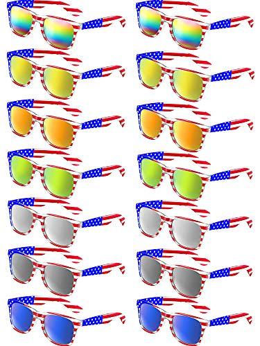 Fiada Gafas de sol Clásicas de American Bandera Gafas de sol Patriot Mirror EE. UU. Gafas Retro de Años 80 (14 Piezas, 7 Colores)