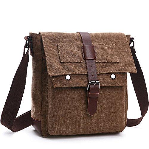 LOSMILE Herren Umhängetasche Schultertasche Kuriertasche Canvas Laptop Tasche Messenger Bag für Arbeit und Schule. (M, kaffeebraun)