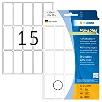 HERMA Movables 10610 20x50mm Colour Laser Paper Removable Rectangular Labels with Round Corners - Matte White (480 Labels, 15 Labels per Sheet)