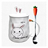 Taza de café de 420 ml con diseño de conejo de dibujos animados, creativa, linda, para parejas, taza de leche, taza de oficina con tapa, cuchara y taza de cerámica (capacidad: 420 ml, color: B)