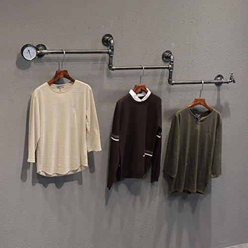 Coat rekken SKC Verlichting Haak Slang Retro Combinatie Wandplank IJzeren Kleding Rack Geschikt voor Woon-/slaapkamer/studie/kleding Winkel Zwart, Zilver(170cm)