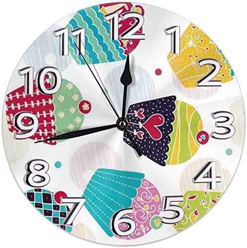 azalea store Runde Wanduhr Regal Uhr Vintage Cupcake süße Weihnachten gedruckt für Wohnzimmer/Esszimmer/Schlafzimmer/Arbeitszimmer dekorativ