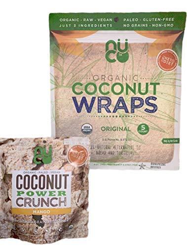 NUCO DUO Certified Organic, Paleo, Gluten Free, Vegan Non-GMO, Kosher Coconut Wraps Original Flavor. NO Salt Added Low Carb 5 Wraps ANDNUCO POWER CRUNCH Organic, NO Sugar Added 1 pack (Mango)