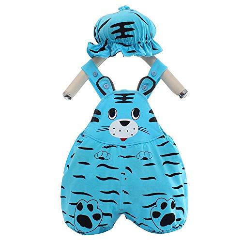 Bonfor Ropa Bebe Niño 0-3 meses Conjuntos Sombrero + Mono, Impresión 3D Pelele Bebe Niño Verano 3-6 meses - Body Recien Nacido Divertidos (Tigre-azul, 0-3 meses)