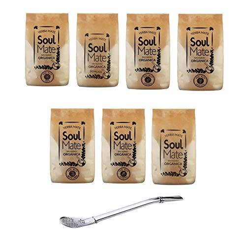 Juego de té mate Biotee Sin Humo Organica 7 variedades diferentes como paquete de 500 g + bombilla de acero inoxidable (Siempre, 500 g)