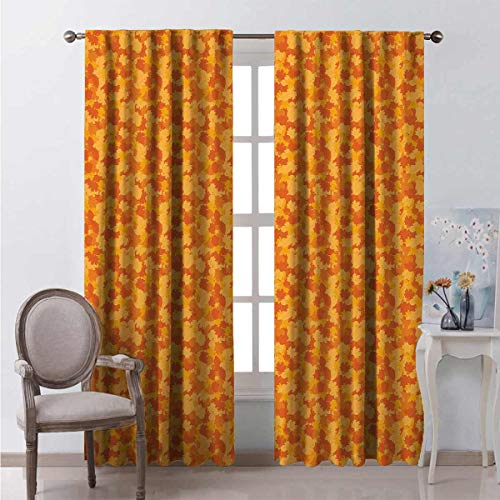 Toopeek Heat insulation curtain Cartoon Fallen Leaves For living room or bedroom W72 x L72 Inch