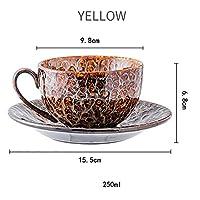 220ml細かい骨中国コーヒーカップと受け皿面白いファッションデザイン和風のコーヒーマグカフェエスプレッソカップのコーヒーカップ (Color : Yellow 1 set)