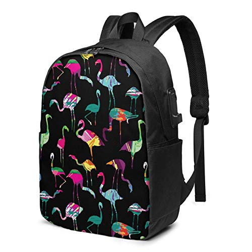 XCNGG Flamingo Silhouette Painting Travel Laptop Mochila College School Bag Mochila Informal con Puerto de Carga USB