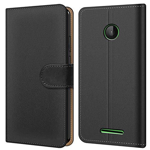 Conie Schutzhülle kompatibel mit Microsoft Lumia 532, Schwarze PU Lederhülle Klapphülle Etui Tasche mit Kartenfächer