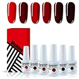 [Rouge Bordeaux Collection ] Vishine Vernis Gel Semi Permanent Ensembles Vernis à Ongles Gel Lot de 6 Rouge Bordeaux 8ml en Cadeau Coffret