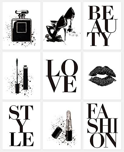 HPNIUB 9er Set Moderne Poster Set,Schwarz & Weiß Poster für Mädchen Schlafzimmer,Makeup Wandbilder für Wohnzimmer Deko,Stilvolle Set mit passenden Bilder,Inspirerende Zitate Poster,ohne Rahmen,20*25cm