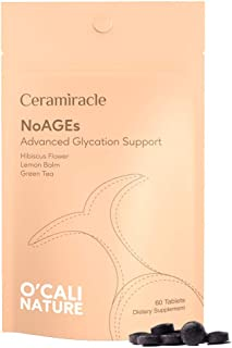 Ceramiracle O'Cali Nature NoAGEs Supplement - Glycation Defense - Hibiscus Flower Extract, Lemon Balm Extract, Grean Tea P...