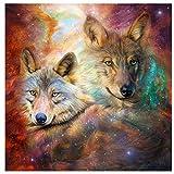 Pintura Digital Animal-Lobo DIY Pintura Al Óleo para Adultos Niños Pintura por Número Kit Dormitorio Y Otra Decoración del Hogar 16 * 20 Pulgadas(Sin Marco)