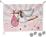 alles-meine.de GmbH Fensterfahne / Fahne Storch - Baby rosa zur Geburt - Mädchen Klapperstorch Babyparty Neugeboren Flagge - wasserfest - XL Banner