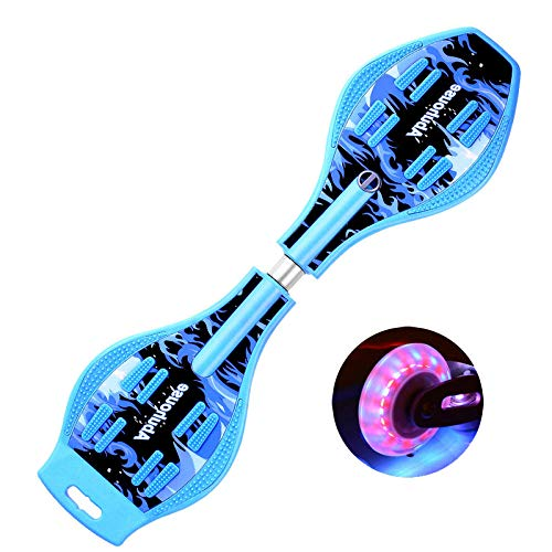 QAZXS Skateboard Waveboard Snake Board Schwenkkopf mit Tragetasche und LED-Rädern Zweirädriges Skateboard-Flamme blau
