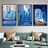 Carteles e impresiones de edificios de paisaje nórdico Ciudad vieja Arquitectura azul Lienzo Pintura Imágenes de arte escandinavo para decoración del hogar | 50x70cmx3 | Sin marco