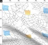 Landkarte, Route, Streifen, Geometrisch Stoffe -