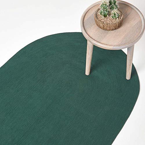 Homescapes Teppich 90 x 150 cm im Dunkelgrün Handgeknüpft aus Baumwolle ovaler Wendeteppich für Wohnzimmer Schlafzimmer und Flur einfarbig handgewebter Retro Teppich