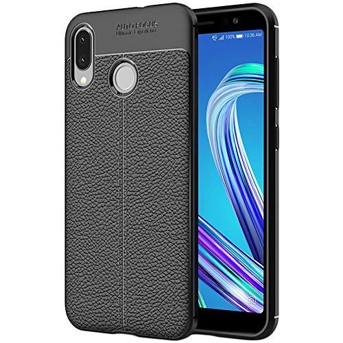 ebestStar - kompatibel mit Asus Zenfone Max M1 Hülle ZB555KL Lederhülle Design TPU Handyhülle Schutzhülle, Flex Silikon Hülle, Schwarz [Phone: 147.3 x 70.9 x 8.7mm, 5.5'']