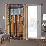 YUAZHOQI - Cortinas correderas para puerta de patio (1 panel), diseño de ventanas antiguas de Cordoba España, 52 x 96 pulgadas de ancho x 96 pulgadas