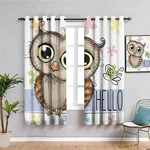 LTHCELE Blickdicht Vorhang für Schlafzimmer - Cartoon Tier Eule süß - 3D Druckmuster Öse Thermisch isoliert - 160 x 160 cm - 90% Blickdicht Vorhang für Kinder Jungen Mädchen Spielzimmer