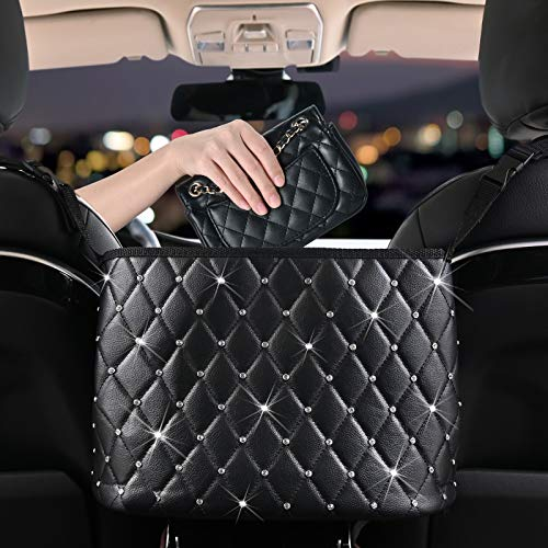 Car Handbag Holder - Seat Back Leather Organizer Handbag Holder Hanging Storage Bag Between Car Seats Large Capacity Bag, Front Seat Storage, Netting Pouch Barrier of Backseat Pet Kids (Black, with Diamond)