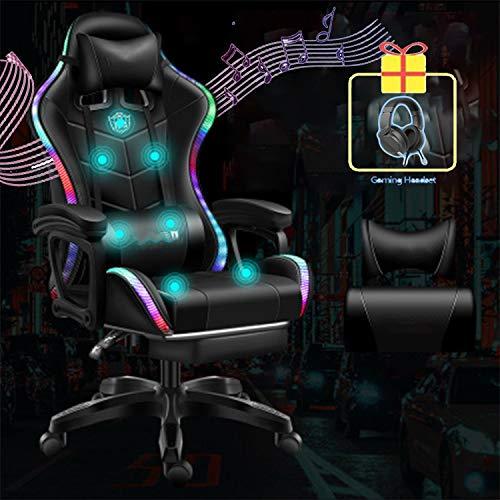 YIHUI Racing Silla para Videojuegos,Silla Gaming, Silla Gamer con Tira de LED RGB, Silla Gaming Racing Reclinable 135 Grados,Carga MÁX.130KG / 300LB,Negro