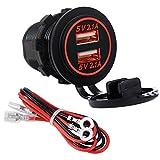 YGL Impermeable Cargador dual USB Toma de corriente 2.1A y 2.1A para 12V / 24V Coche Barco Marina Camión Vehículo Motocicleta (rojo)