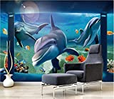 Papel De Pared 3D Tela No Tejida Papel Pintado Delfín De Acuario Azul Hermoso Papel Pintado Pared Mural Decorativo Salón Dormitorio 400x280cm