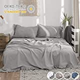 Simple&Opulence French Linen Sheet Set 4PCS with Frills Flax Cotton Blend Solid Color