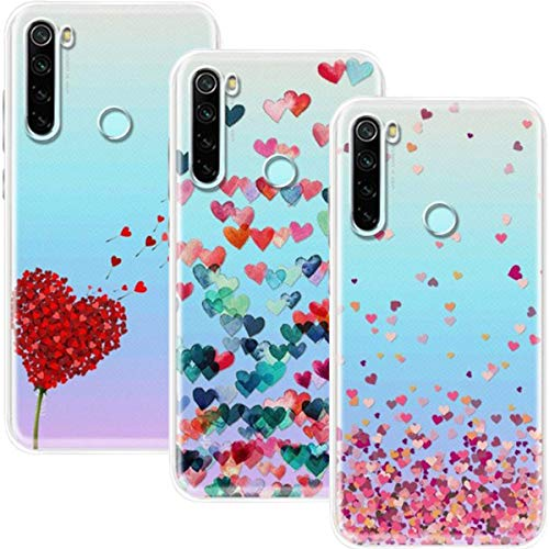 Young & Ming Funda para Xiaomi Redmi Note 8T, (3 Pack) Transparente TPU Silicona Carcasa Delgado Antigolpes Resistente, Amor