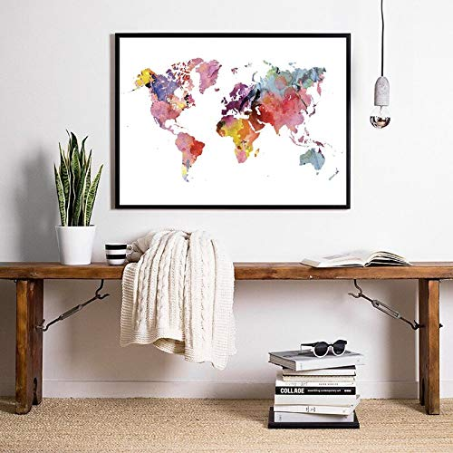 Canvas Painting World Map Art Travel Poster Rainbow Colorful Geography Abstract Wall Art Print for Room Decor 60x80 CM (No Frame)