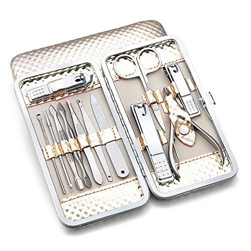 12 Morceau/Set Outil De Manucure Ongles Set Coupe-Ongles Ciseaux Scorpion Couteau Set De Manucure En Boîte Dorée, 12 En 1