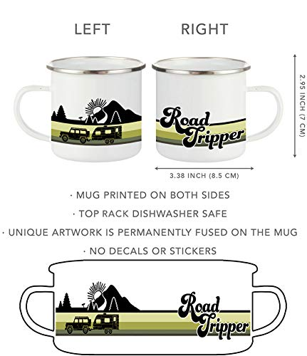 Product Image 6: FuanYuanfang Funny Camper Coffee Mug – ROAD TRIPPER Enamel Campfire Mug – Mountain Camping Coffee Cup, Nature Outdoor Hiking Birthday Christmas Camp Lover Gifts for Man, Woman, Friends 11oz