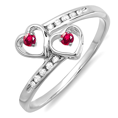 Dazzlingrock Collection Sterling Silver Round Ruby & White Diamond Ladies Bridal Double Heart Promise Ring, Size 7