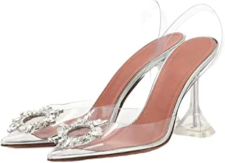 Womens Pointed Transparent Sandals Summer, Clear Heel Transparent Shoes, Rhinestone Sexy Toe Stiletto Heel Transparent Chic Fashion Sandals