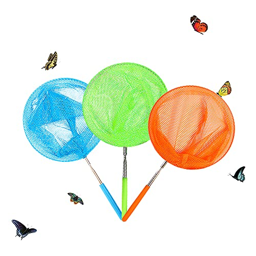 Skrtuan Kids Telescopic Butterfly Fishing Nets Great for Catching Insect Net Perfect Outdoor Tools for Catching Bugs Fish Insect Ladybird, Extendable 34 Inches and Anti Slip Grip (3 Pack)