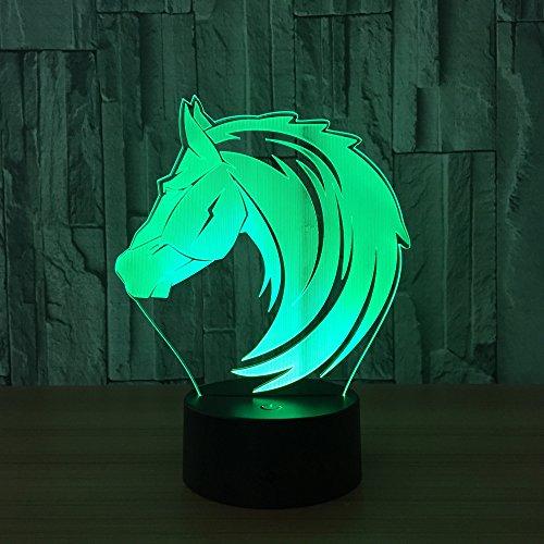 Paard 3D illusie lamp LED nachtlampje met 7 kleuren wijzigen en afstandsbediening verjaardag en kerstcadeau voor kinderen slaapkamer decoratieve tafellamp