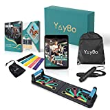 Yaybo – Kit Musculation et Fitness – Push-Up Board 9 en 1 + Corde à Sauter + 5 Bandes de résistance + Sac de Sport – Pack Complet Remise en Forme pour Faire du Sport à la Maison