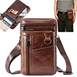 Aonet Men Purse Cell Phone Holster Case Belt Clip Phone Pouch Bag for iPhone, Samsung, Google and Other Phones Leather Crossbody Bag Travel Purse Waist Bag for Work - Brown