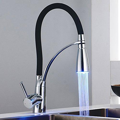 Tropicaleu Grifo de Cocina con LED Luz de Color Negro Moderno Extraíble Silicona Fregadero Cromado Monomando de 360 Grados de Rotación de Caliente y Fría Grifería de Cocina