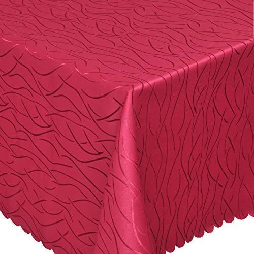 Melody Tischdecke Streifen Wellen 130x160 cm eckig rot Damasttischdecke 230 Gr/qm #4002