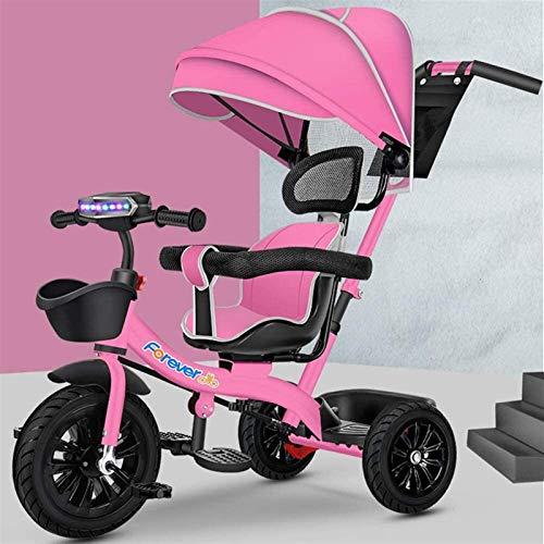 Cuatro en uno Triciclo multifunción Infantil, Silla de Paseo con Parasol, Bicicletas, Marco de Acero de Alto Carbono  Goma de Titanio de Ruedas vacío  Asiento Giratorio bidireccional, Color: Azul
