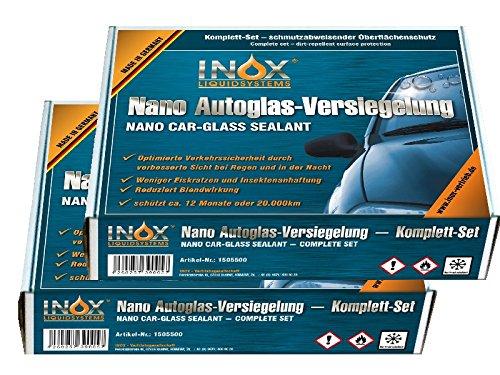 INOX® Nano Glasversiegelungs-Set, (2x) - Schmutzabweisender Oberflächenschutz für die Autoscheibe