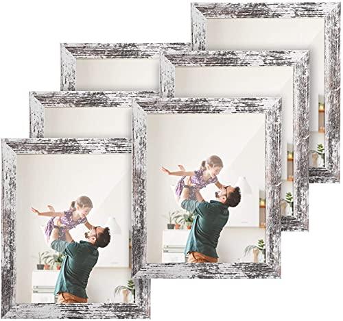 HOUSE DAY Marco de fotos 20x25cm 6piezas,cuadros de exhibición marco de patrón de madera vintage con marco de fotos de madera de vidrio acrílico irrompible para exhibición de mesa y pared,Blanco retro