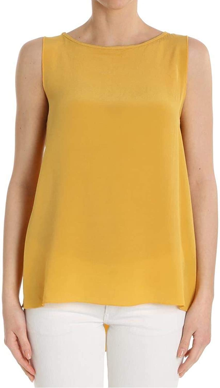 Ottod'ame Women's GINET86341504O Yellow Silk Top