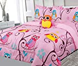 6 Piece Twin Size Kids Girls Teens Comforter Set Bed in Bag with Shams, Sheet set and Decorative Toy Pillow, Owl Branch Print Pink Yellow Turquoise Girls Kids Comforter Bedding Set w/Sheets,T 6pc OB