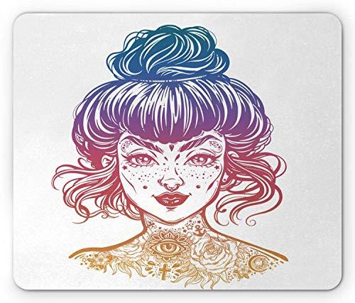Mausepad Tattoo Tätowierte Frau Porträt Mit Vintage Brötchen Haar Gemacht Junges Mädchen Gesicht Mit Sommersprossen Gedrucktes Spiel Rechteck Rutschfest 25X30Cm Gummi Computer Per