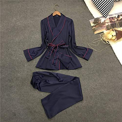 SDCVRE Conjunto de Pijama Pijamas BataAlbornoz Conjunto de Pijamas de Mujer Camisón de Encaje de Invierno Ropa de Dormir Pijama Pijama Ropa para el hogar, Azul, XL