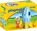 PLAYMOBIL- 1.2.3 Astronauta con Cohete, Color carbón (70186)